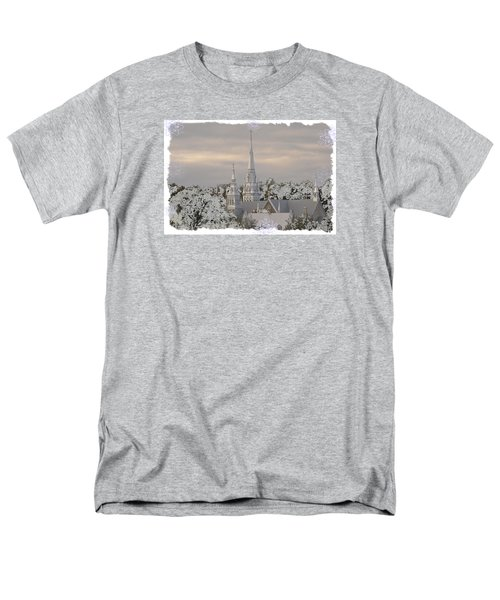 Men's T-Shirt  (Regular Fit) featuring the photograph Steeples In The Snow by Nadalyn Larsen