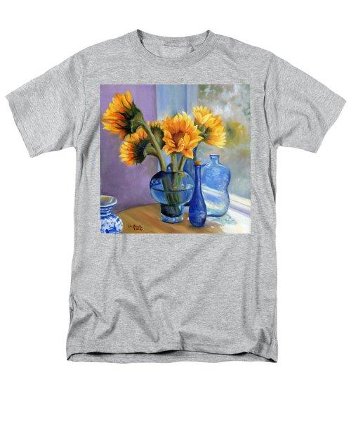 Sunflowers And Blue Bottles Men's T-Shirt  (Regular Fit) by Marlene Book