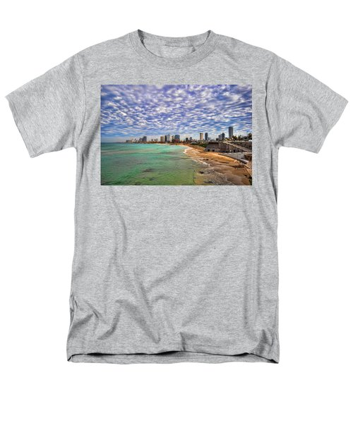 Men's T-Shirt  (Regular Fit) featuring the photograph Tel Aviv Turquoise Sea At Springtime by Ron Shoshani