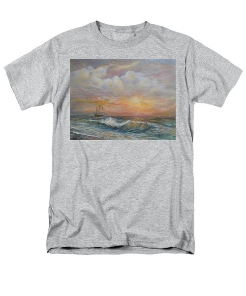 Men's T-Shirt  (Regular Fit) featuring the painting Sunlit  Frigate by Luczay