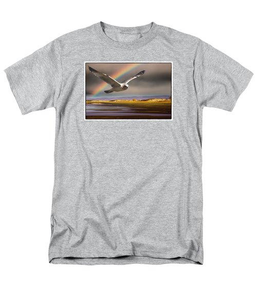 Men's T-Shirt  (Regular Fit) featuring the photograph The Gull And The Rainbow by Janis Knight