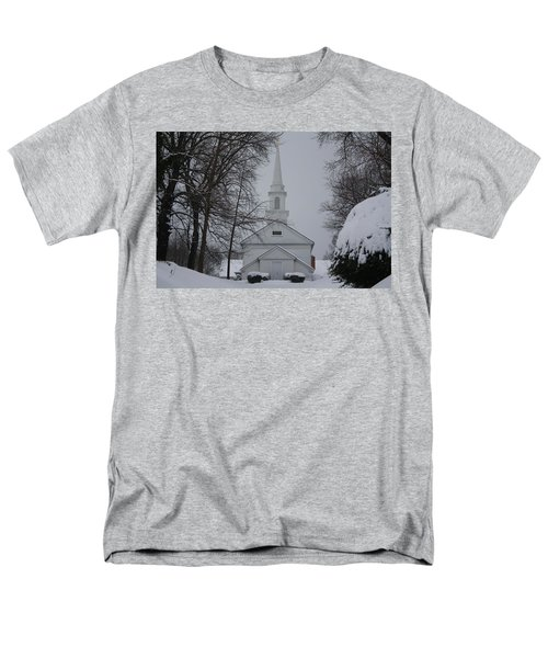 Men's T-Shirt  (Regular Fit) featuring the photograph The Little White Church by Dora Sofia Caputo Photographic Art and Design