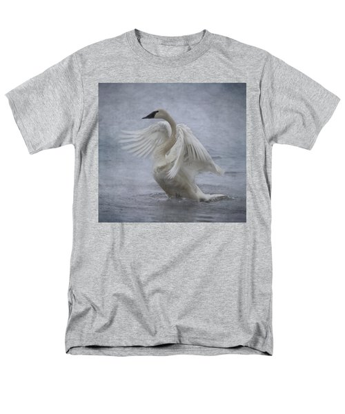 Men's T-Shirt  (Regular Fit) featuring the photograph Trumpeter Swan - Misty Display by Patti Deters