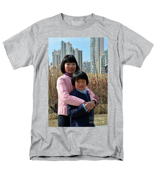 Two Chinese Teen Sisters Hug  And Embrace Shanghai China Men's T-Shirt  (Regular Fit) by Imran Ahmed