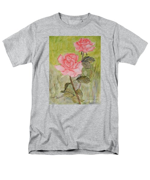 Two Pink Roses Men's T-Shirt  (Regular Fit) by Pamela  Meredith