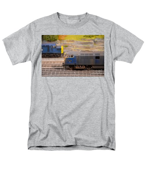 Men's T-Shirt  (Regular Fit) featuring the photograph Two Yellow Blue British Rail Model Railway Train Engines by Imran Ahmed