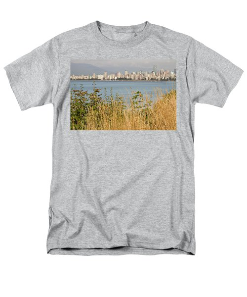 Men's T-Shirt  (Regular Fit) featuring the photograph Vancouver Bc Downtown From Hasting Mills Park by JPLDesigns