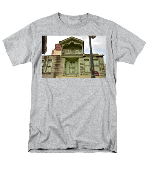 Men's T-Shirt  (Regular Fit) featuring the photograph Weathered Old Green Wooden House by Imran Ahmed