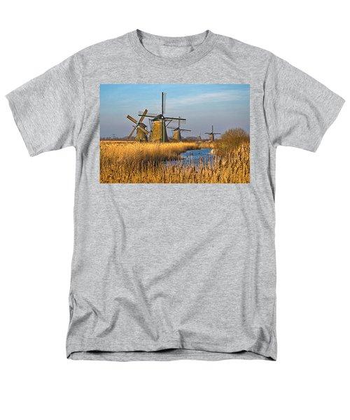 Windmills And Reeds Near Kinderdijk Men's T-Shirt  (Regular Fit) by Frans Blok