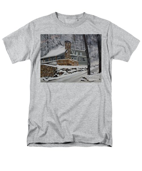 Winter - Cabin - In The Woods Men's T-Shirt  (Regular Fit) by Jan Dappen