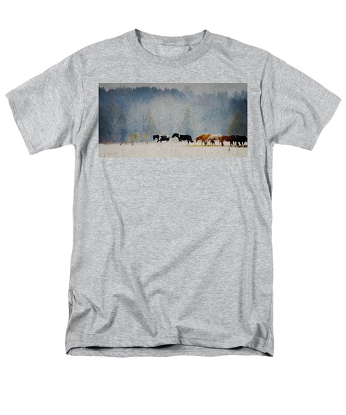 Men's T-Shirt  (Regular Fit) featuring the photograph Winter Horses by Ann Lauwers