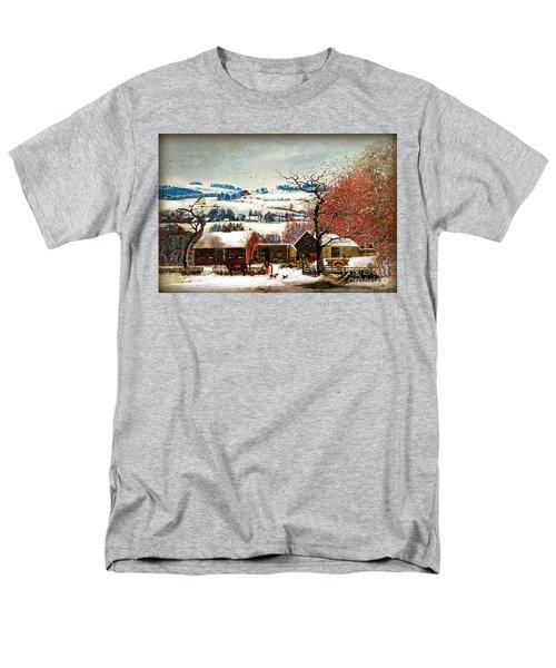 Men's T-Shirt  (Regular Fit) featuring the digital art Winter In The Country Folk Art by Lianne Schneider