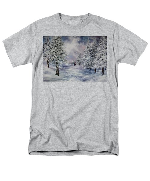 Men's T-Shirt  (Regular Fit) featuring the painting Winter Walk On Cannock Chase by Jean Walker
