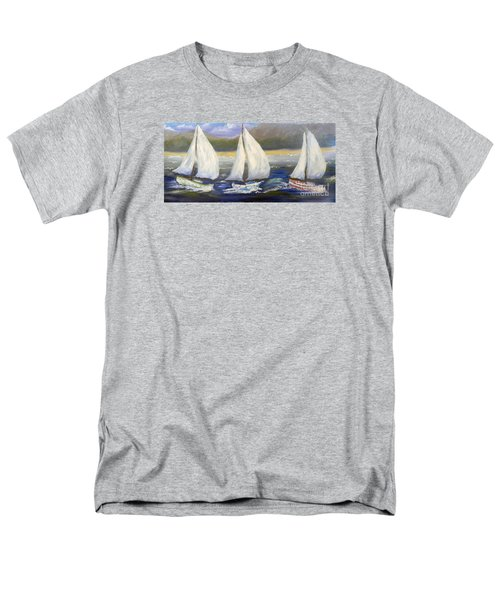 Yachts Sailing Off The Coast Men's T-Shirt  (Regular Fit) by Pamela  Meredith