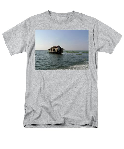 Men's T-Shirt  (Regular Fit) featuring the photograph A Houseboat Moving Placidly Through A Coastal Lagoon In Alleppey by Ashish Agarwal