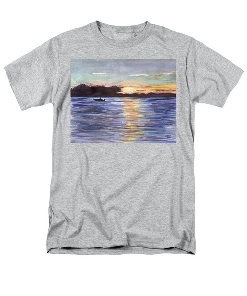 Men's T-Shirt  (Regular Fit) featuring the painting Chesapeake Dusk Boat Ride by Clara Sue Beym