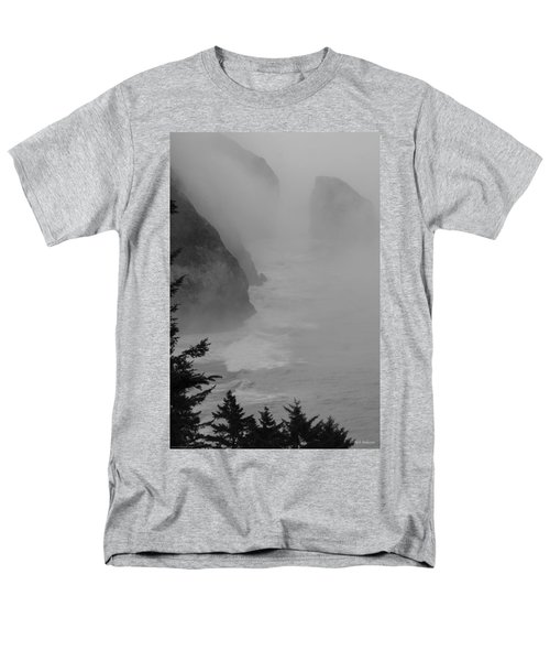 Men's T-Shirt  (Regular Fit) featuring the photograph Fog And Cliffs Of The Oregon Coast by Mick Anderson