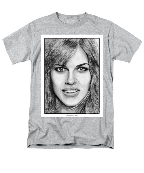 Men's T-Shirt  (Regular Fit) featuring the drawing Hilary Swank In 2007 by J McCombie