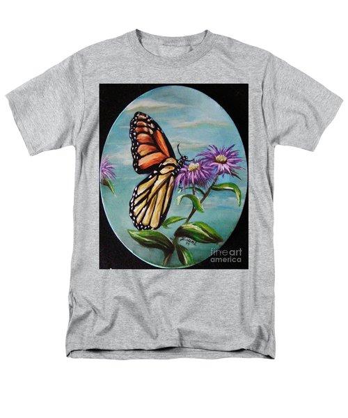 Men's T-Shirt  (Regular Fit) featuring the painting Monarch And Aster by Karen  Ferrand Carroll