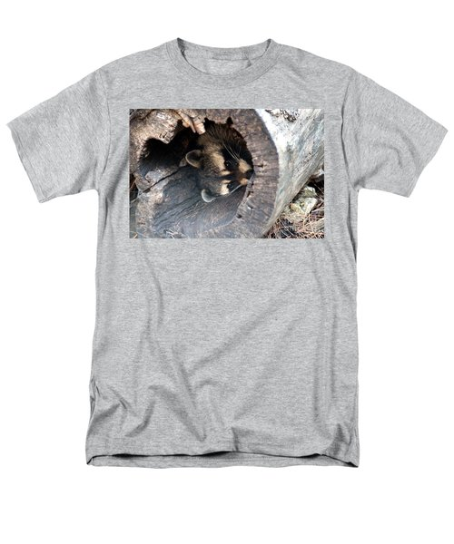 Men's T-Shirt  (Regular Fit) featuring the photograph Raccoon In Hiding by Kathy  White
