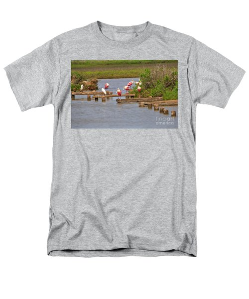 Roseate Spoonbills And Snowy Egrets Men's T-Shirt  (Regular Fit) by Louise Heusinkveld