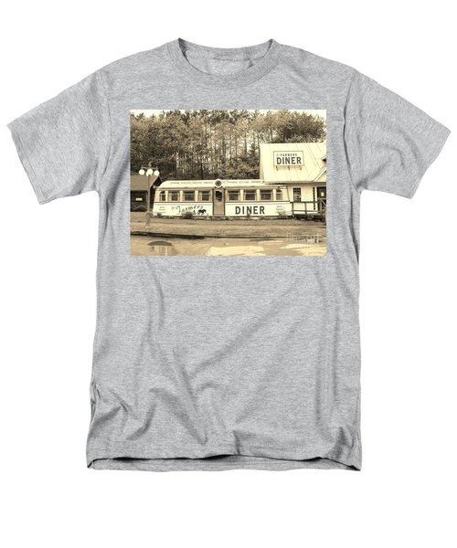 Men's T-Shirt  (Regular Fit) featuring the photograph The Farmers Diner In Sepia by Sherman Perry