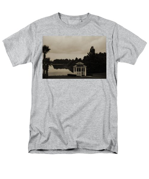 Men's T-Shirt  (Regular Fit) featuring the photograph The Gazebo At The Lake by DigiArt Diaries by Vicky B Fuller