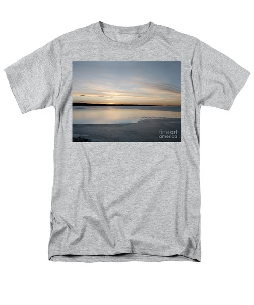 Men's T-Shirt  (Regular Fit) featuring the photograph Winter Sunset Over Lake by Art Whitton