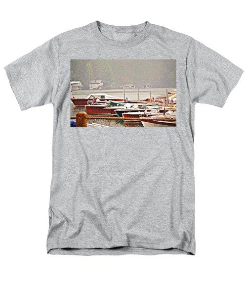 Wood Boats In The Rain Men's T-Shirt  (Regular Fit) by Susan Leggett