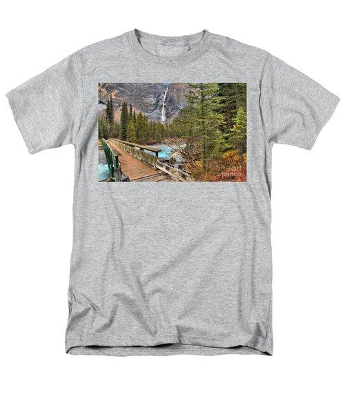 Men's T-Shirt  (Regular Fit) featuring the photograph Wooden Bridge To Takakkaw Falls by Adam Jewell