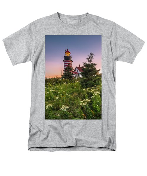 Maine West Quoddy Head Light At Sunset Men's T-Shirt  (Regular Fit) by Ranjay Mitra