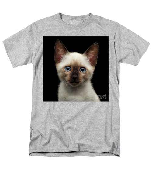Mekong Bobtail Kitty With Blue Eyes On Isolated Black Background Men's T-Shirt  (Regular Fit) by Sergey Taran