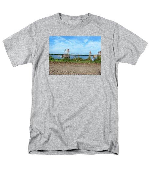 Sandhill Crane Family  Men's T-Shirt  (Regular Fit) by Chris Mercer