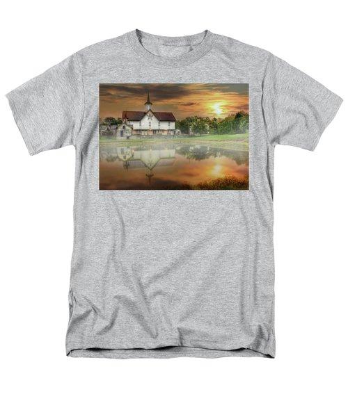 Men's T-Shirt  (Regular Fit) featuring the mixed media Star Barn Sunrise by Lori Deiter