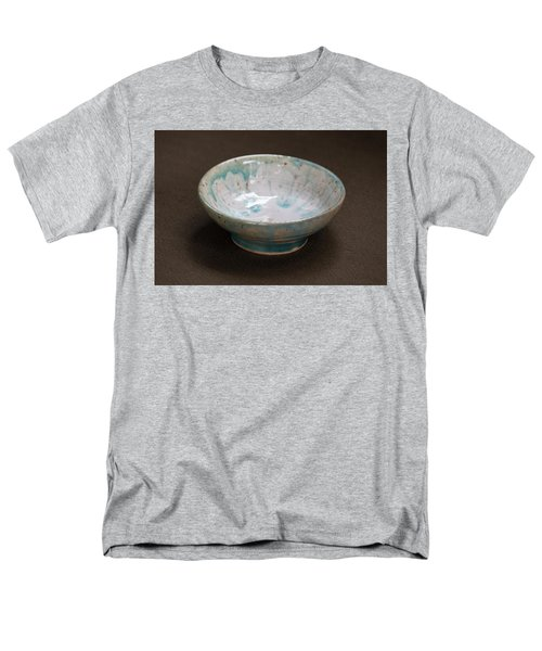 White Ceramic Bowl With Turquoise Blue Glaze Drips Men's T-Shirt  (Regular Fit) by Suzanne Gaff