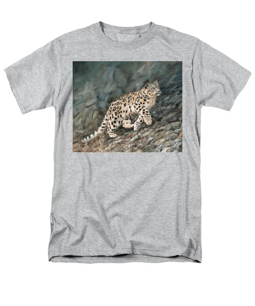 Men's T-Shirt  (Regular Fit) featuring the painting Snow Leopard by David Stribbling