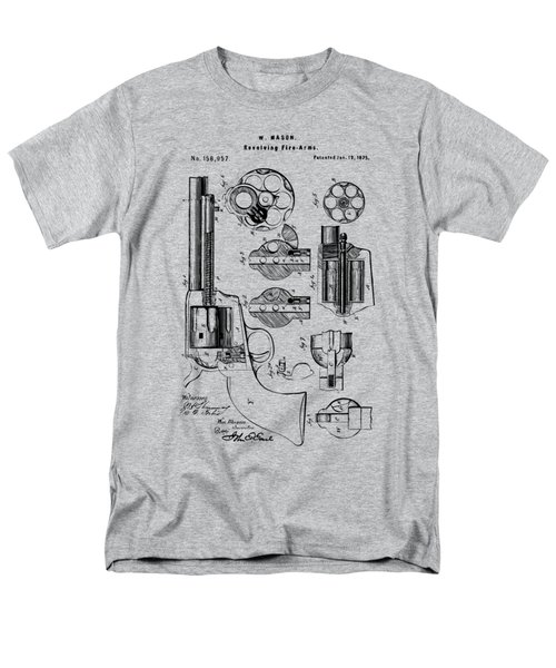 Men's T-Shirt  (Regular Fit) featuring the drawing 1875 Colt Peacemaker Revolver Patent Vintage by Nikki Marie Smith