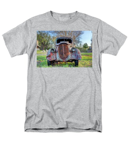 Men's T-Shirt  (Regular Fit) featuring the photograph 1936 Model 511 1/2 Ton Stakebed Farm Truck Near Charlevoix, Mic by Peter Ciro
