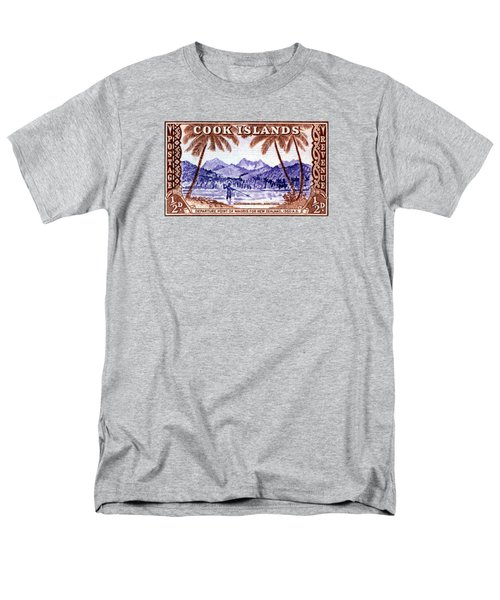 Men's T-Shirt  (Regular Fit) featuring the painting 1949 Native Fishing, Cook Islands by Historic Image