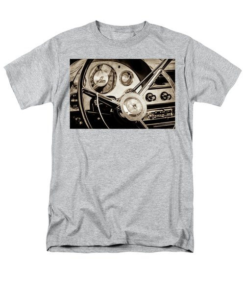 Men's T-Shirt  (Regular Fit) featuring the photograph 1956 Ford Victoria Steering Wheel -0461s by Jill Reger