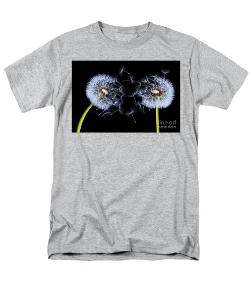 Men's T-Shirt  (Regular Fit) featuring the photograph Dandelion On Black Background by Bess Hamiti