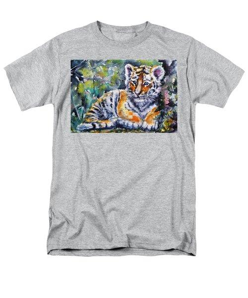 Men's T-Shirt  (Regular Fit) featuring the painting Tiger Cub by Kovacs Anna Brigitta