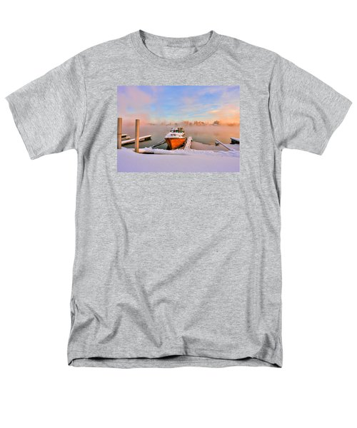 Boat On Frozen Lake Men's T-Shirt  (Regular Fit) by Rose-Maries Pictures