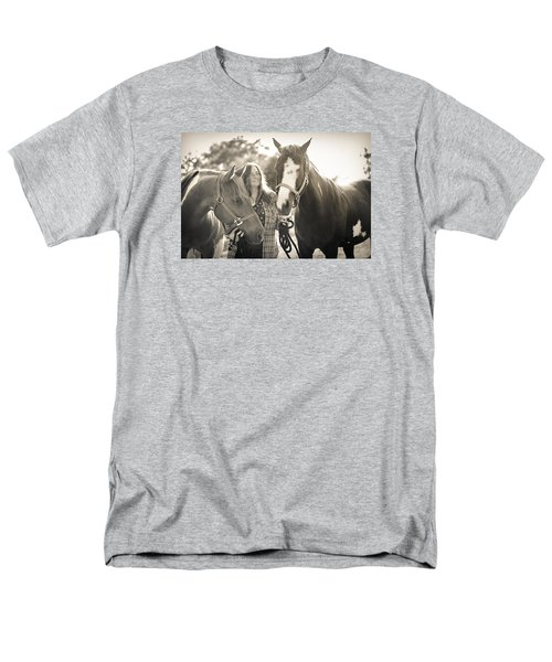 Men's T-Shirt  (Regular Fit) featuring the photograph A Girl And Horses In The Sun Sepia by Kelly Hazel
