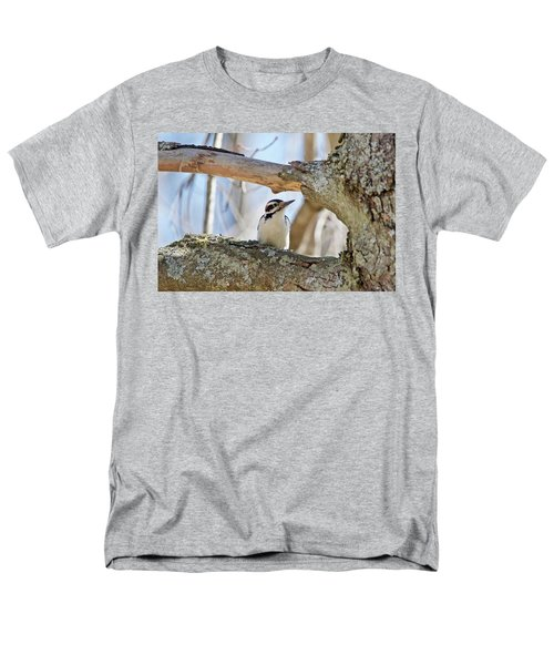Men's T-Shirt  (Regular Fit) featuring the photograph A Male Downey Woodpecker  1111 by Michael Peychich