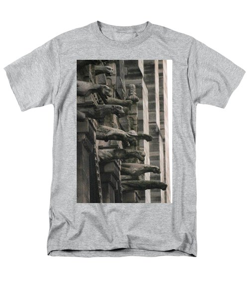 A Wall Of Gargoyles Notre Dame Cathedral Men's T-Shirt  (Regular Fit) by Christopher Kirby