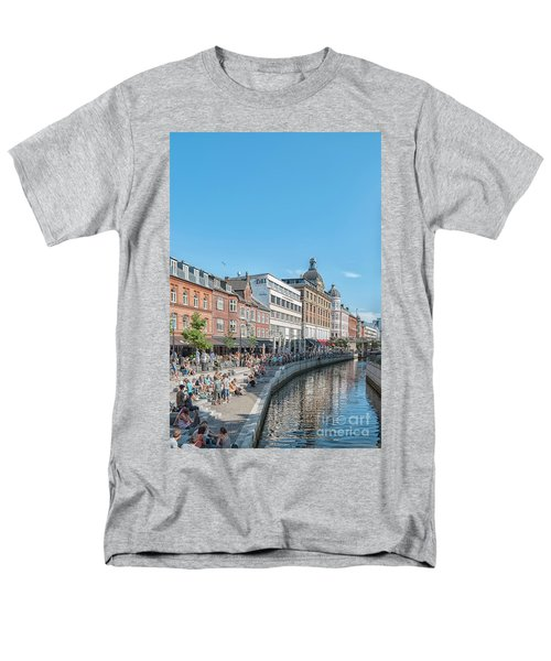 Men's T-Shirt  (Regular Fit) featuring the photograph Aarhus Summertime Canal Scene by Antony McAulay