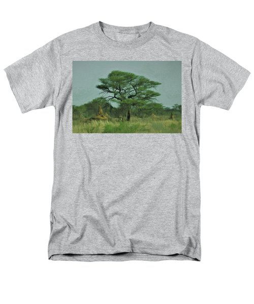 Men's T-Shirt  (Regular Fit) featuring the digital art Acacia Tree And Termite Hills by Ernie Echols