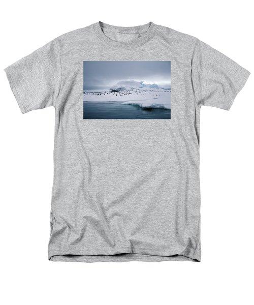 Adelie Penguins On Iceberg Weddell Sea Men's T-Shirt  (Regular Fit) by Brian Lockett