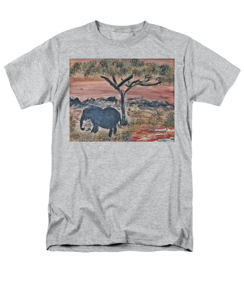 Men's T-Shirt  (Regular Fit) featuring the painting African Landscape With Elephant And Banya Tree At Watering Hole With Mountain And Sunset Grasses Shr by MendyZ
